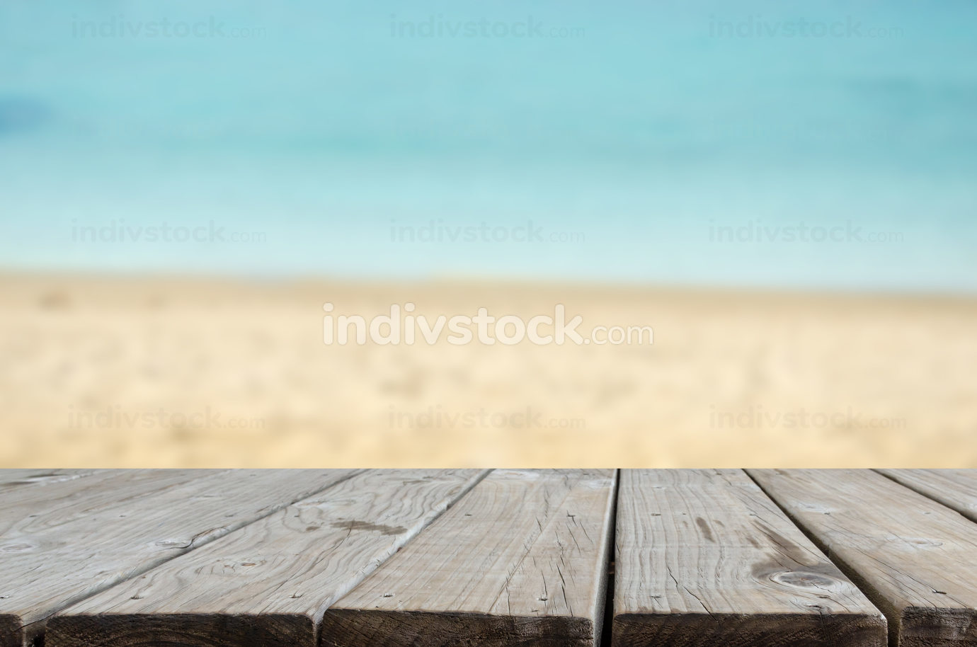 wood table top sea and beach