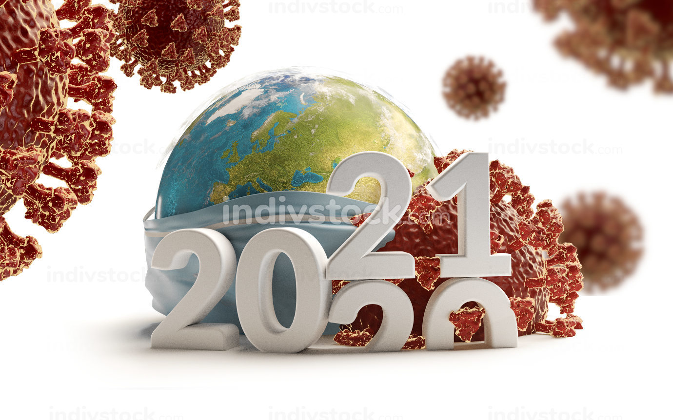 year bold letters 2021 with Coronavirus and globe with respiratory protection face mask 3d-illustration. elements of this image furnished by NASA