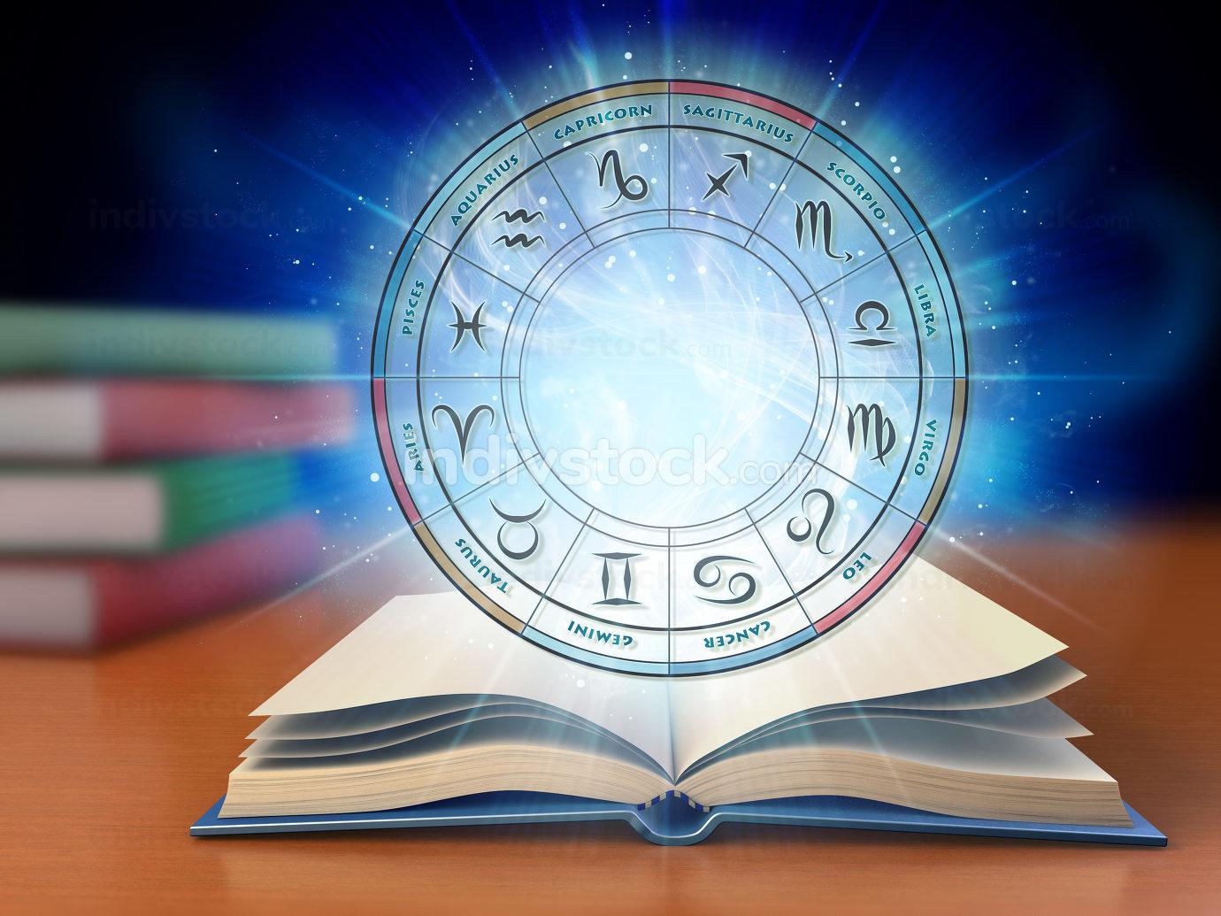 Zodiac wheel over an open book