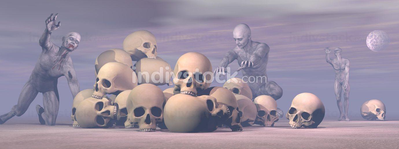 Zombies around - 3D render