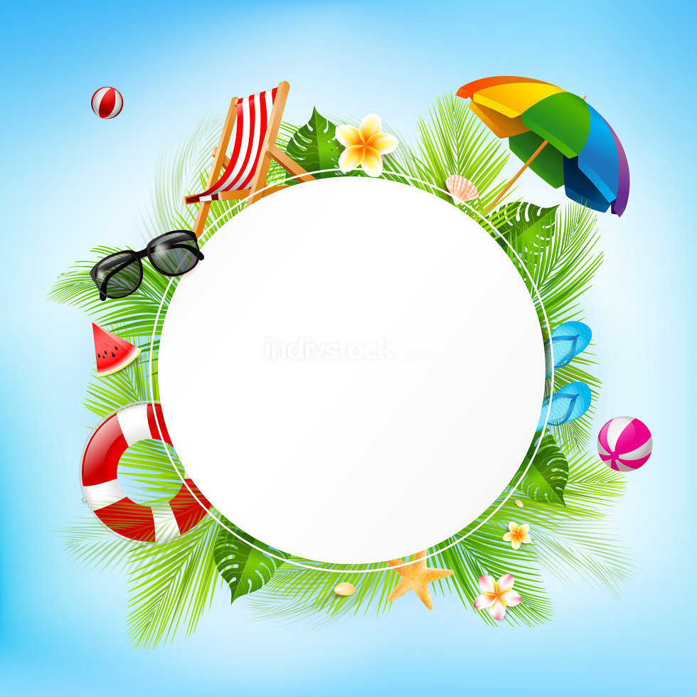 Blank circle paper and summer vacation concept with coconut juic