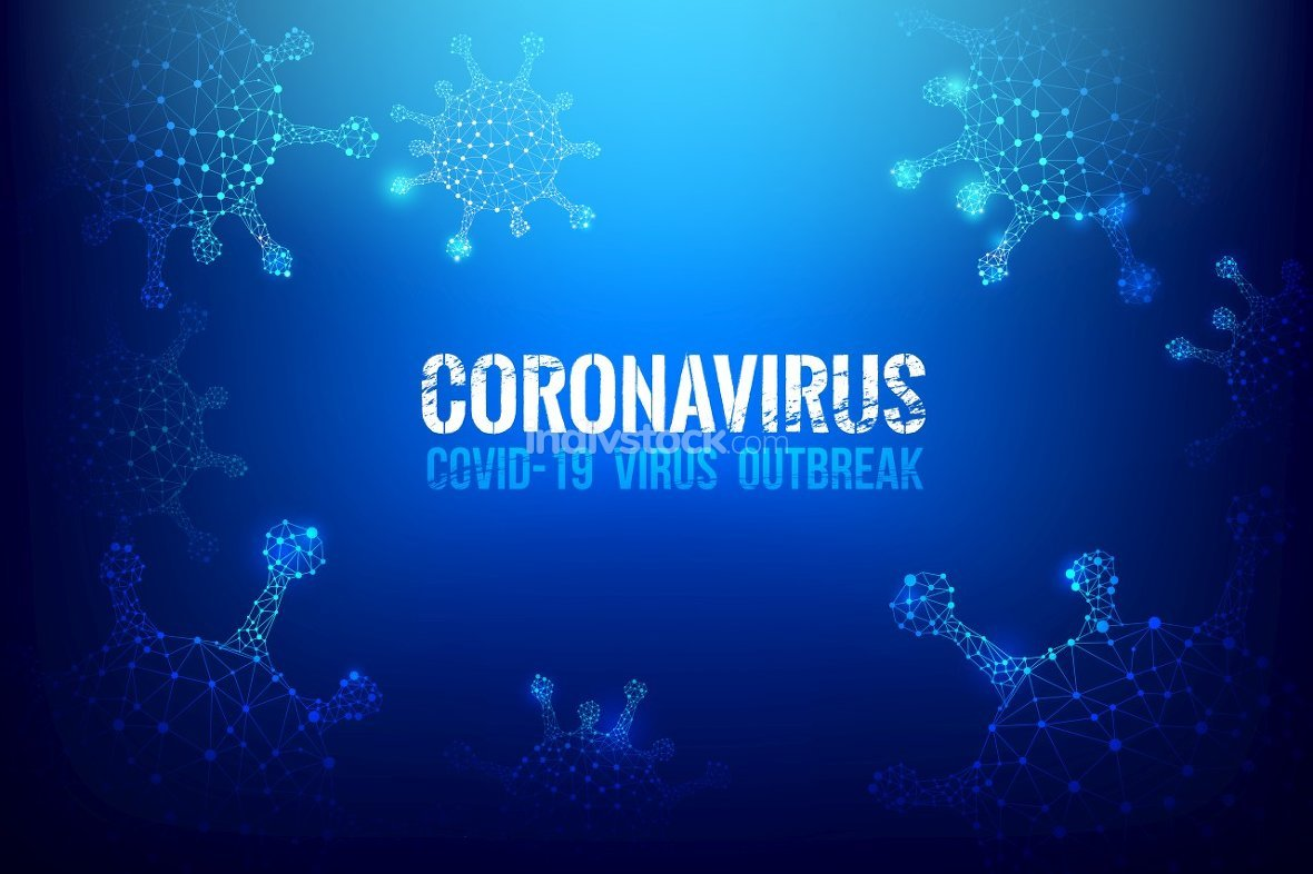 Coronavirus Covid-19 text outbreak with the world map and HUD 00