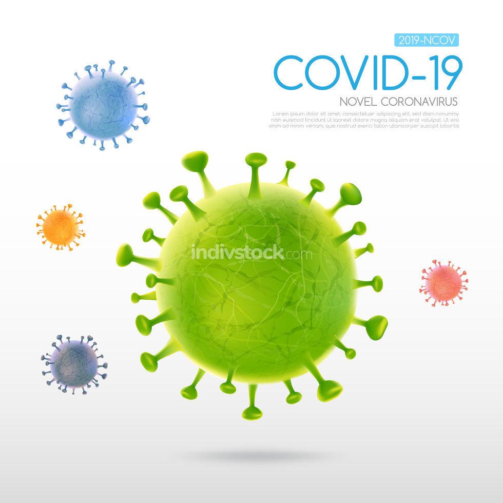 Coronavirus outbreak Covid-19 design with falling virus cell on