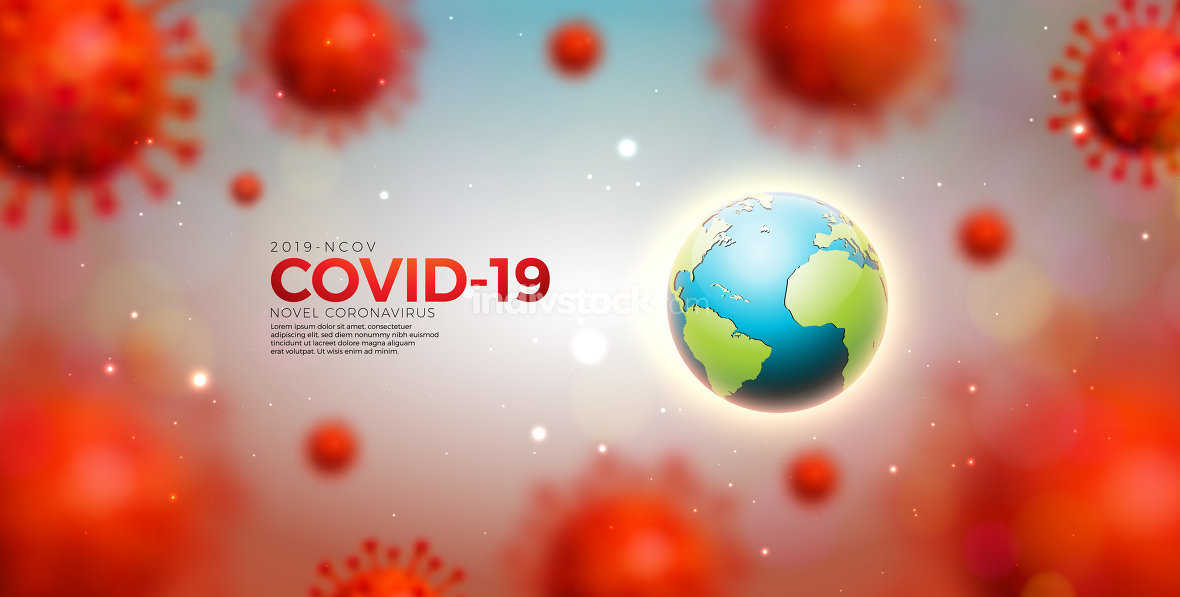 Covid-19. Coronavirus Epidemic Design with Virus Cells and Earth on Light Background. Vector 2019-ncov Corona Virus Illustration Template on Dangerous SARS Outbreak Theme for Banner or Flyer.