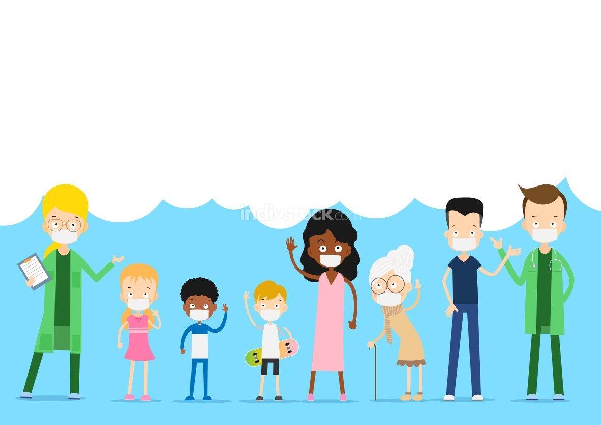Doctor and kids character cartoon prevention coronavirus