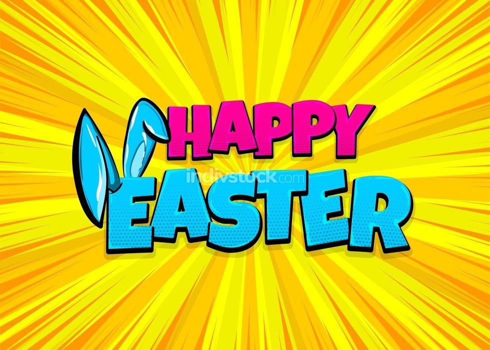 Happy Easter comic text pop art vintage poster