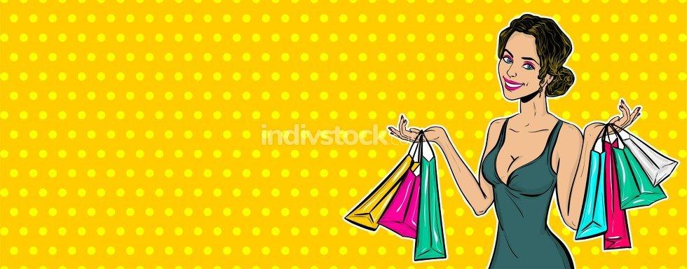 Pop art girl sale shopping bag