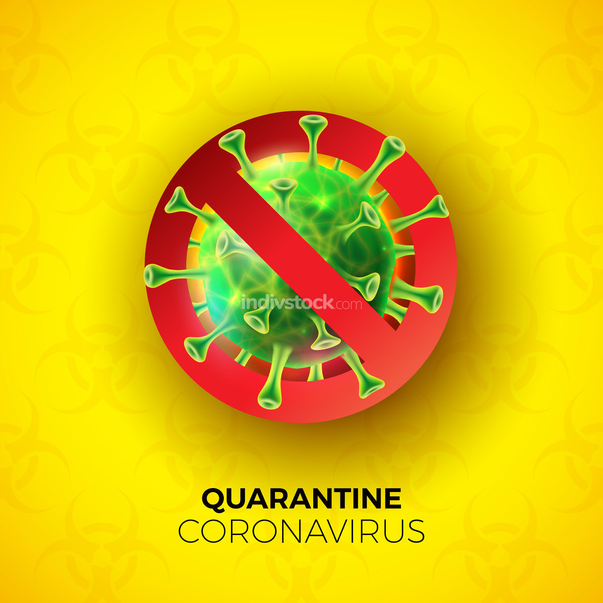 Quarantine Coronavirus Design with Covid-19 Virus Cell on Biological Danger Symbol Pattern Background. Vector 2019-ncov Corona Virus Outbreak Illustration. Stay Home, Stay Safe.