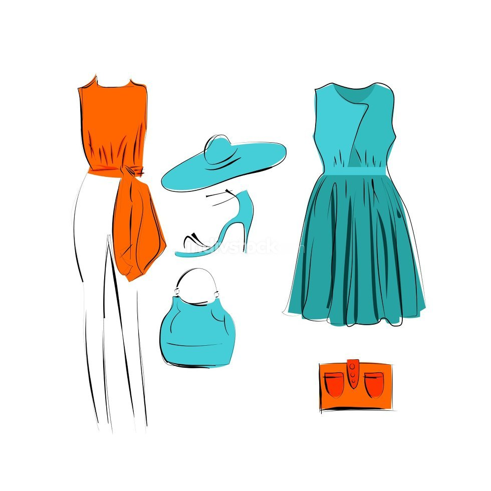 set of fashionable clothes icon isolated