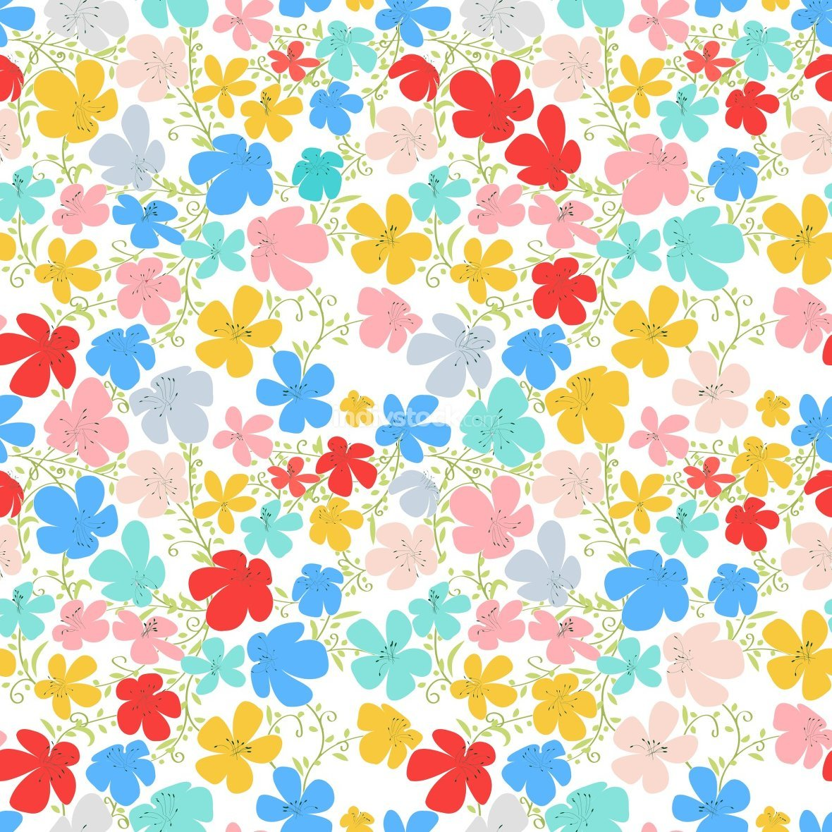 Spring flowers, seamless vector pattern