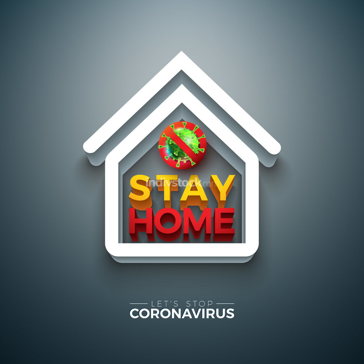 Stay Home. Stop Coronavirus Design with Covid-19 Virus and 3d House Symbol on Dark Background. Vector 2019-ncov Corona Virus Outbreak Illustration on Dangerous SARS Epidemic Theme for Banner.