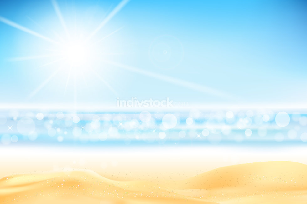 Summer abstract background bokeh with ligting effect sand beach
