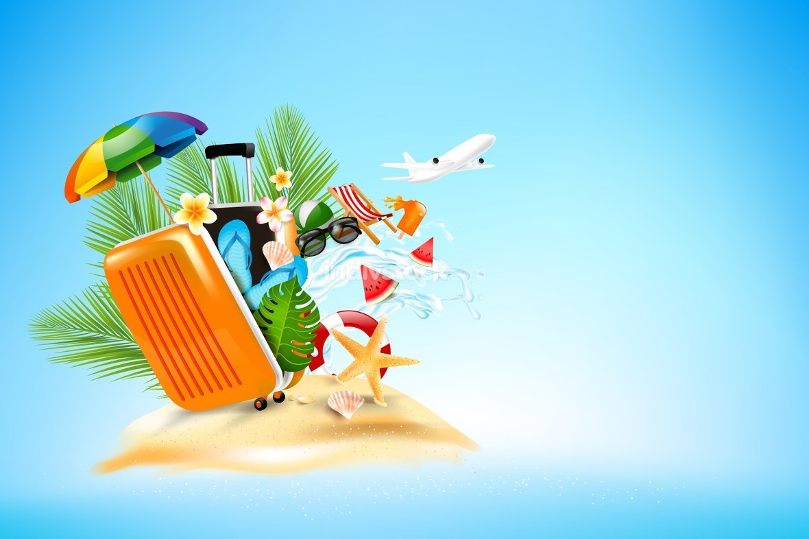 Summer vacation concept with air plane elemet