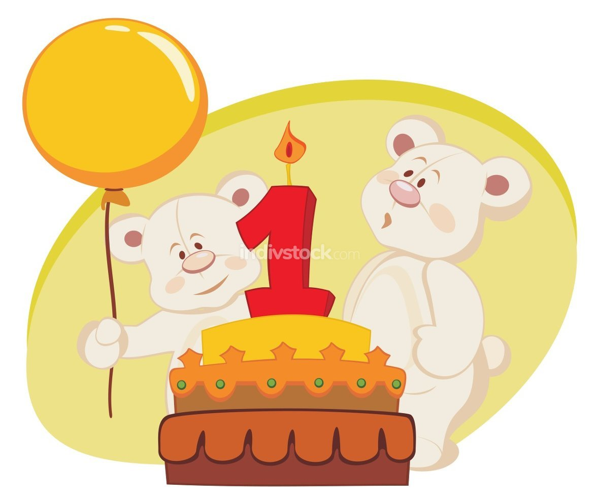 Two teddy bears celebrating birthday
