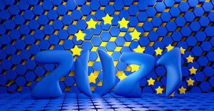 2021 color design of the flag of Europe. hexagonal grid design background. 3d-illustration