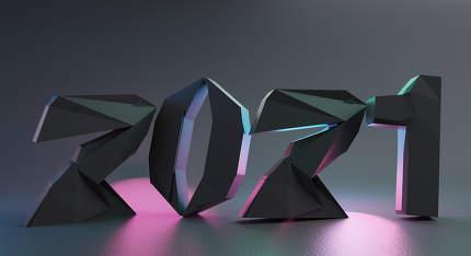 2021 creative design symbol bold letters 3d-illustration