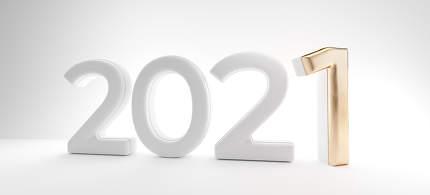 2021 golden and white design. light gray background 3d-illustration