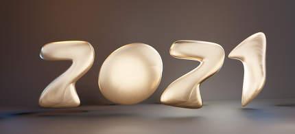 2021 golden bold letters rounded 3d-illustration