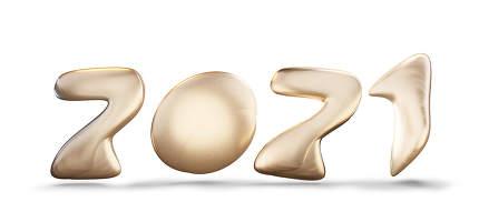 2021 golden bold symbol 3d-illustration