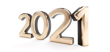 2021 golden metallic isolated on white 3d-illustration