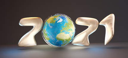 2021 golden world planet earth bold letters 3d-illustration. elements of this image furnished by NASA
