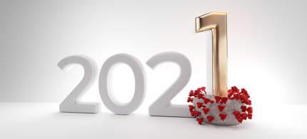 2021 new year crushes Corona Virus symbolic 3d-illustration