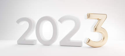 2023 white letters with golden 3 design 3d-illustration design