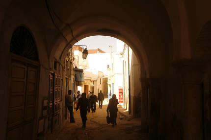 a alley in the Old City of Tunis in north of Tunisia in North Africa,  Tunisia, Sidi Bou Sair, March, 2009