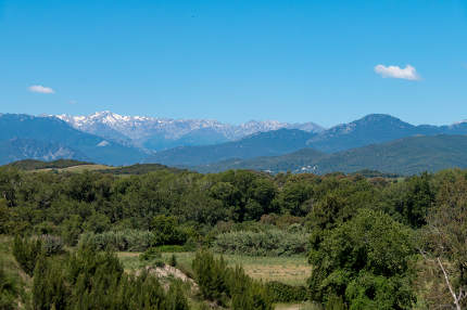 A landscape shot with green forests, mountains and a blue sky