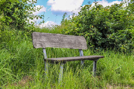 A public empty bench found in northern Europe