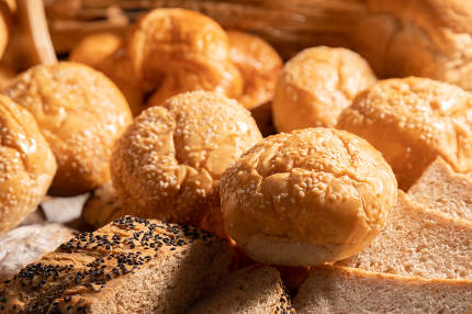 A variety of sesame buns put together on the table