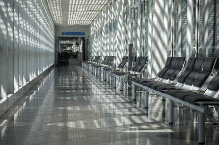 Airport, waiting room, traveler area