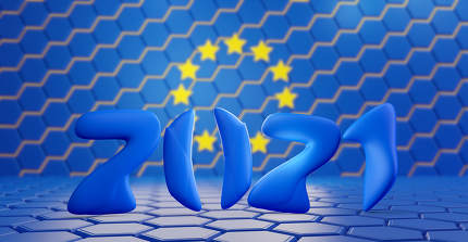 blurred hexagonal design of the flag of Europe and 2021 number rounded creative bold numbers 3d-illustration