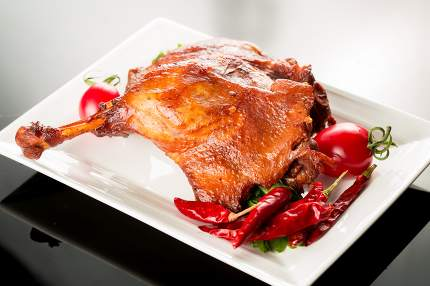 Braised duck legs, Chinese cuisine.