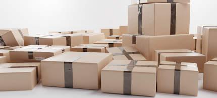 brown packages 3d-illustration background logistics design