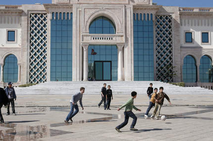 Children play Soccer at the Kasbah Square in the City of Tunis in north of Tunisia in North Africa,  Tunisia, Sidi Bou Sair, March, 2009