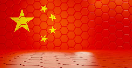 China red hexagonal grid background 3d-illustration