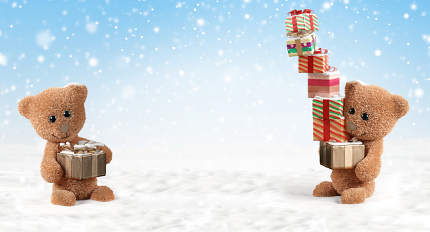 Christmas gifts teddy bear 3d-illustration