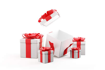 christmas presents red white one open christmas gift 3d-illustra