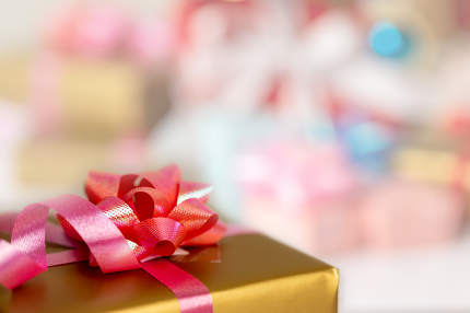 Close up gift box and blurred background