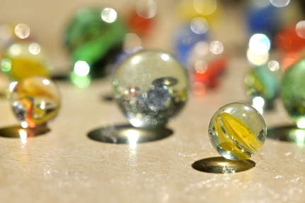Closeup Glass marble balls