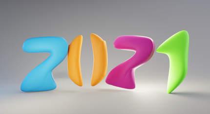 colorful 2021 bold letters trend modern design 3d-illustration