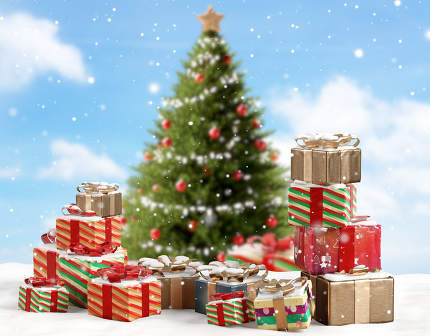 concept of Christmas. many christmas presents 3d-illustration ba