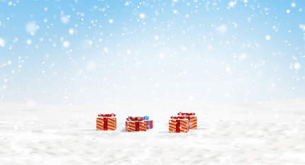 concept of Christmas. outdoor snow with christmas gifts 3d
