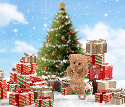 concept of Christmas. outdoor snow with christmas gifts and small teddy bears. 3d-illustration