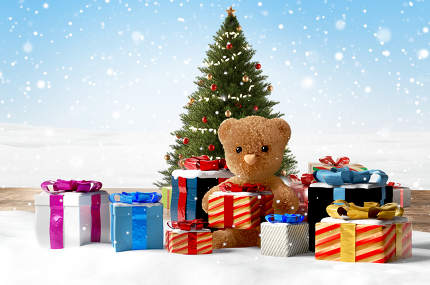 concept of christmas presents. christmas gifts and cute teddy be