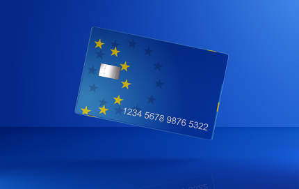 concept of Europe blue credit card 3d-illustration