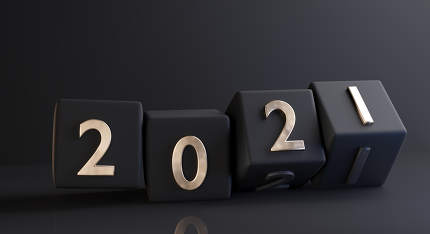 concept of the year 2021. bold letters golden on dices design 3d