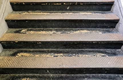 concrete, metal stairways