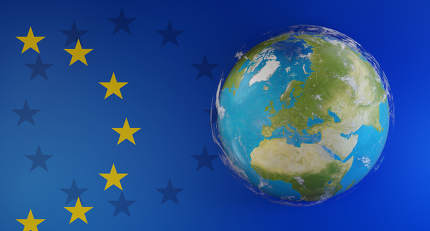 creative concept background of flag of Europe and world globe. e